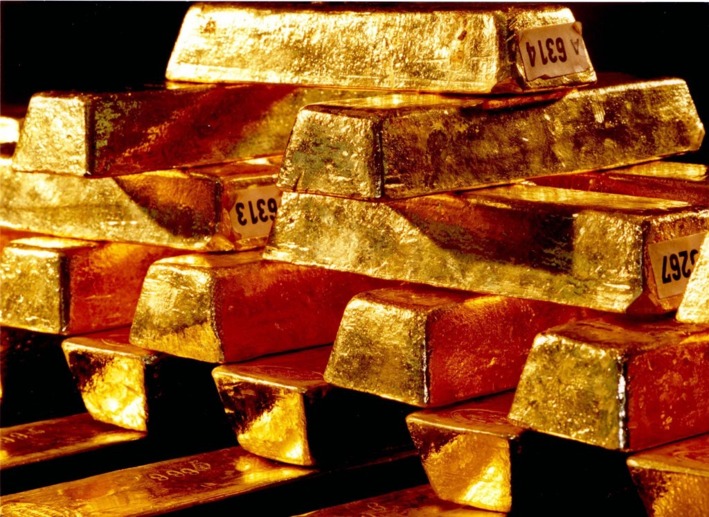 Gold ingots are stored at the Bundesbank headquarters in Frankfurt, Germany. (AP Photo/hopd/Deutsche Bundesbank)