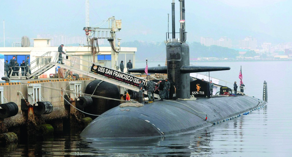 The USS San Francisco, a U.S. nuclear-powered submarine, is docked before South Korea and U.S. joint military exercises, at Jinhae naval base, South Korea. (AP Photo/Yonhap)