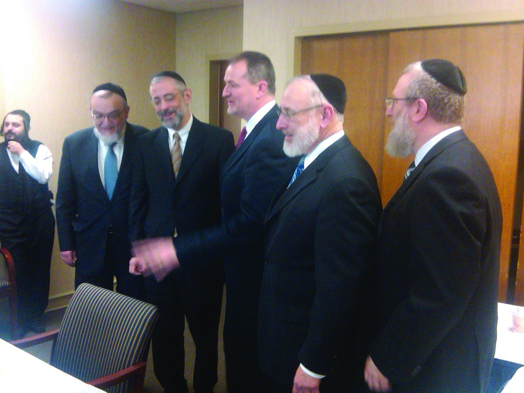 agudah mission to albany focuses on yeshivah funding askanus l r rabbi shmuel lefkowitz rabbi chaim dovid zwiebel mr jim cultrara
