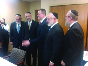 (L-R) Rabbi Shmuel Lefkowitz, Rabbi Chaim Dovid Zwiebel, Mr. Jim Cultrara, Director of Education for the New York State Catholic Conference, Rabbi Gedalya Weinberger and Rabbi Leibish Becker.