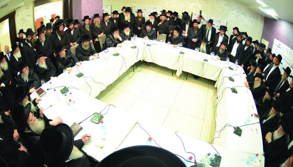 At the joint session of the Moetzes Gedolei HaTorah of Agudas Yisrael and Degel HaTorah in Bnei Brak on Thursday evening. (Moshe Goldstein)
