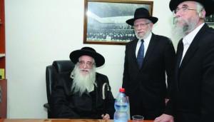 The Sanz-Klausenberger Rebbe of Eretz Yisrael, shlita, at the site of the meeting.