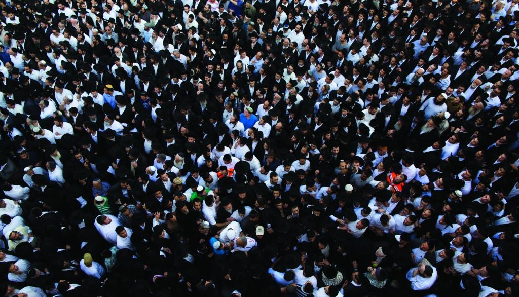 "Partial view of the masses mourning the petirah of Harav Yaakov Yosef, son of, ybl""c,  Hagaon Harav Ovadia Yosef, at his levayah in Yerushalayim on Friday. (Yonatan Sindel/Flash90)"