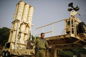 Colonel Zvika Haimovich of the Israeli air defense corps stands in front of an Arrow II battery during an interview with Reuters at his base in Palmachim, south of Tel Aviv, on Thursday. (REUTERS/Amir Cohen)