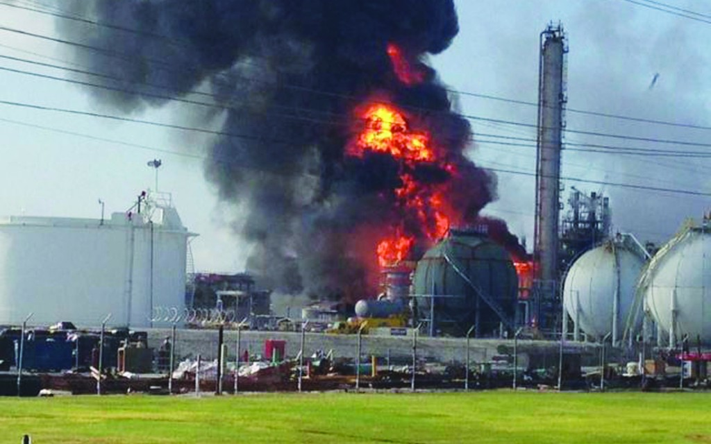 An explosion at The Williams Companies Inc. plant in the Ascension Parish town of Geismar La., Thursday. (AP Photo/Ryan Meador)