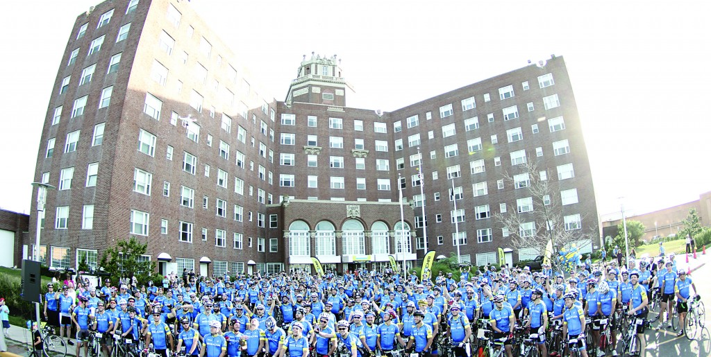 Three hundred bikers on Wednesday prepare to leave on their two-day Bike-a-thon to Camp Simcha in Glen Spey, N.Y., at the departure point 175 miles away at the Berkeley Hotel in Asbury Park, N.J. (TheLakewoodScoop.com)