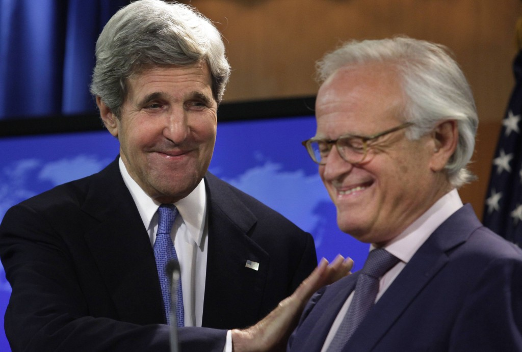 Secretary of State John Kerry stands with former U.S. Ambassador to Israel Martin Indyk at the State Department in Washington, Monday, as he announces that Indyk will shepherd the Israeli-Palestinian peace talks. (AP Photo/Charles Dharapak)