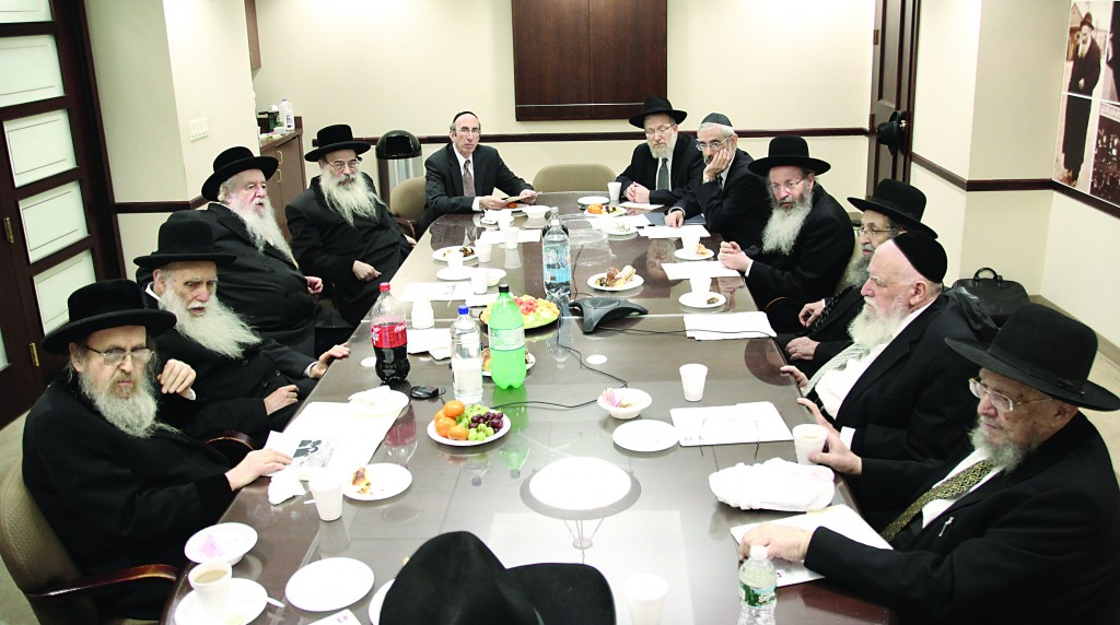 Members of the Moetzes Gedolei HaTorah met Tuesday afternoon at Agudath Israel of America headquarters in New York City to discuss pressing matters on the American agenda and the current situation in Eretz Yisrael. (Hillel Engel/Agudath Israel)