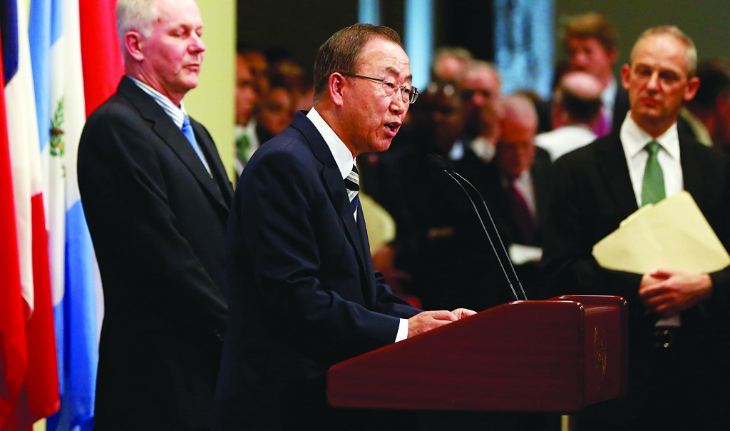 United Nations Secretary-General Ban Ki-moon speaks to the media after briefing the Security Council on the U.N. chemical weapons report on the use of chemical weapons by the Syrian Arabic Republic at the United Nations in New York Tuesday. (REUTERS/Shannon Stapleton)