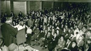 "Harav Ovadiah Yosef, zt""l, speaking to talmidim of Yeshivah Torah Vodaath in the 1970s."