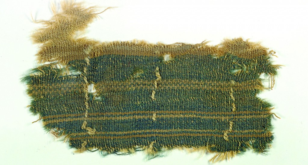 The remnant of what is believed to be an ancient textile containing a blue dye extracted from the Murex snail. (AP Photo/Clara Amit, Israel Antiquities Authority, HOPD)