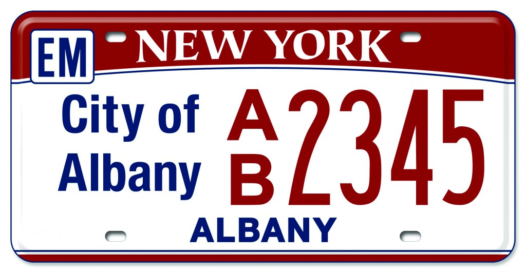 A sample emergency vehicle red license plate. (Office of the Governor)