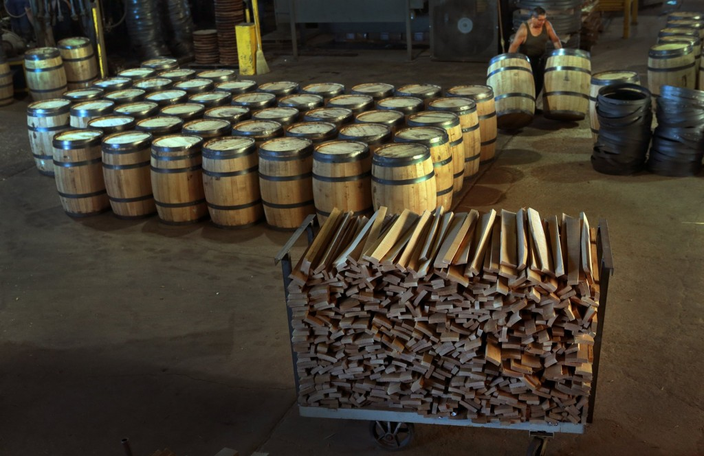 white oak barrels are moved for finishing at mcginnis wood products in cuba mo