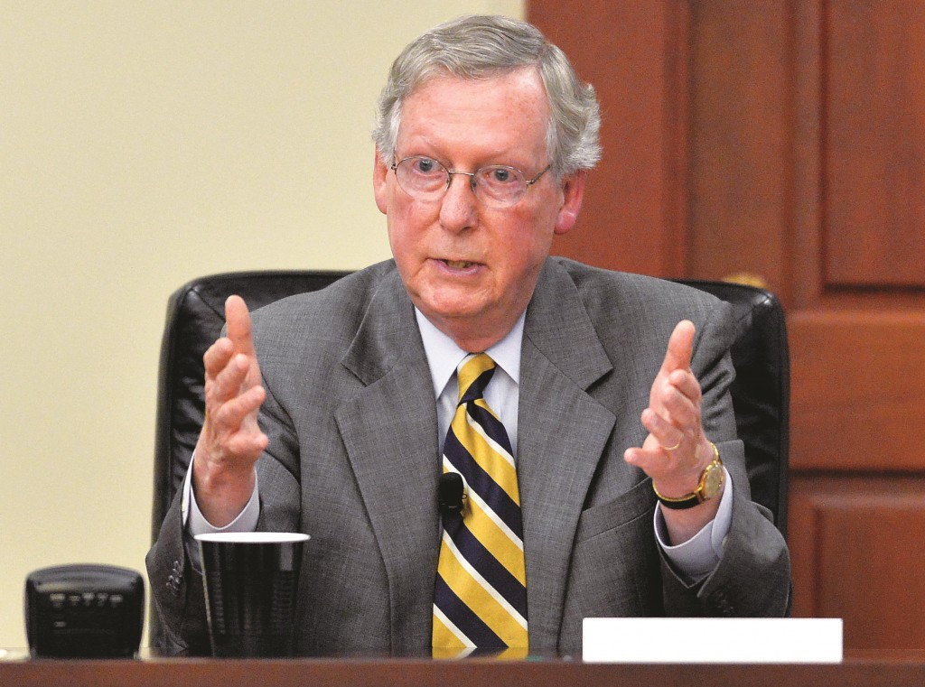 Senate Minority Leader Mitch McConnell of Ky. speaks in Louisville, Ky, Aug. 20. The top prize of the November midterm elections is control of the Senate for the final two years of President Obama's term. (AP Photo/Timothy D. Easley, File)