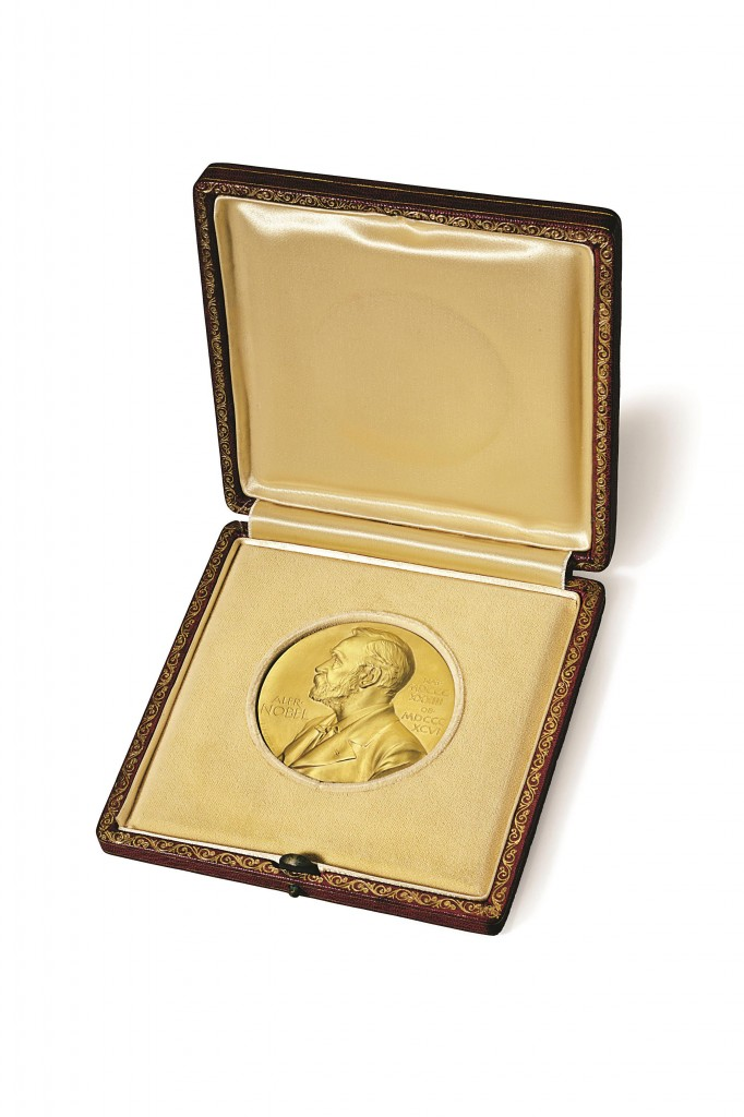 The 1962 Nobel Prize medal James Watson won for his role in the discovery of the structure of DNA. (AP Photo/Christie's)