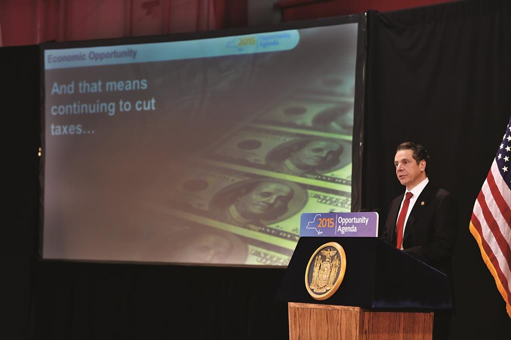 Gov. Andrew Cuomo on Friday discusses his budget in Rockland County. (Kevin P. Coughlin/Office of the Governor)
