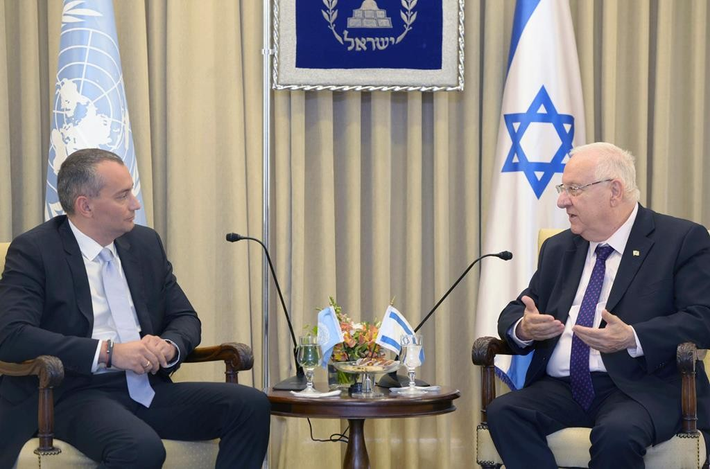 Israeli President Reuven Rivlin (R) meets with United Nations Special Coordinator for Middle East Peace Process Nikolay Mladenov in Yerushalayim on Wednesday.  (Mark Neyman/GPO)