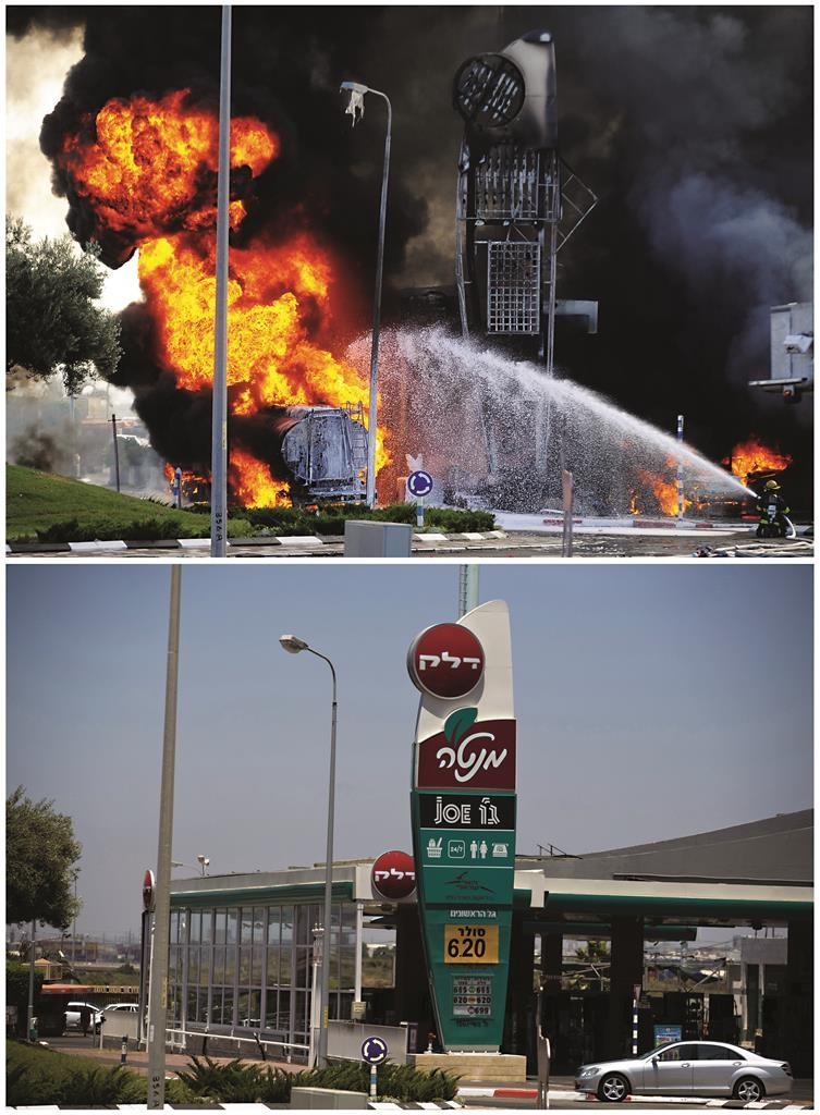 Before and after pictures show Israeli fire-fighters at the scene after a rocket fired by Palestinian terrorists in Gaza landed in Ashdod, July 14, 2014 (top) and the same place July 7, 2015. July 8th marked the one-year anniversary of Operation Protective Edge.