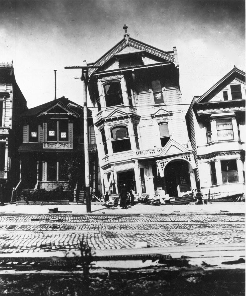 houses lean at bizarre angles on howard street in san francisco following the disastrous earthquake that