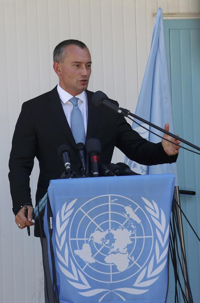 United Nations Special Coordinator for the Middle East Peace Process Nickolay Mladenov, talks during a press conference in Gaza City, Thursday. (AP Photo/Adel Hana)