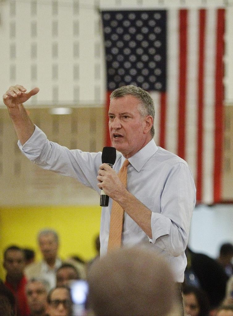 Mayor Bill de Blasio speaks Wednesday night during a town hall meeting at a Washington Heights public school. (AP Photo/Frank Franklin II)