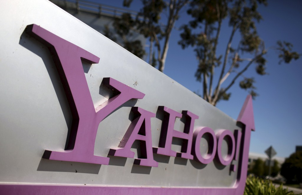 The Yahoo logo is shown at the company's headquarters in Sunnyvale, California in this April 16, 2013 file photo. Online search and advertising company Yahoo Inc's board plans to weigh the potential sale of its Internet business when it meets Wednesday through Friday, The Wall Street Journal reported on Tuesday. REUTERS/Robert Galbraith/Files