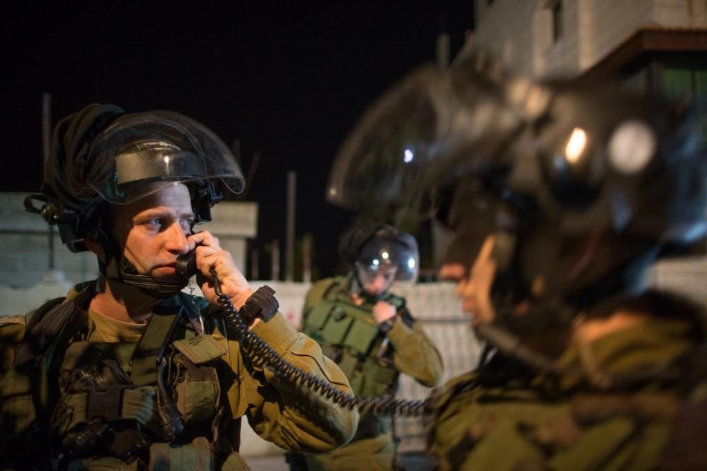 Nachshon Battalion Commander David Shapira seen during the battalion's operation of arresting terror suspects in the Duhaisha Refugee Camp near Bethlehem. Photo by Nati Shohat/Flash90.