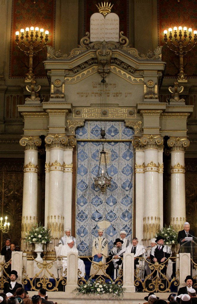 Pope Francis sits near Rabbi Riccardo Di Segni during his visit to the Great Synagogue of Rome on Sunday. (AP Photo/Alessandra Tarantino)