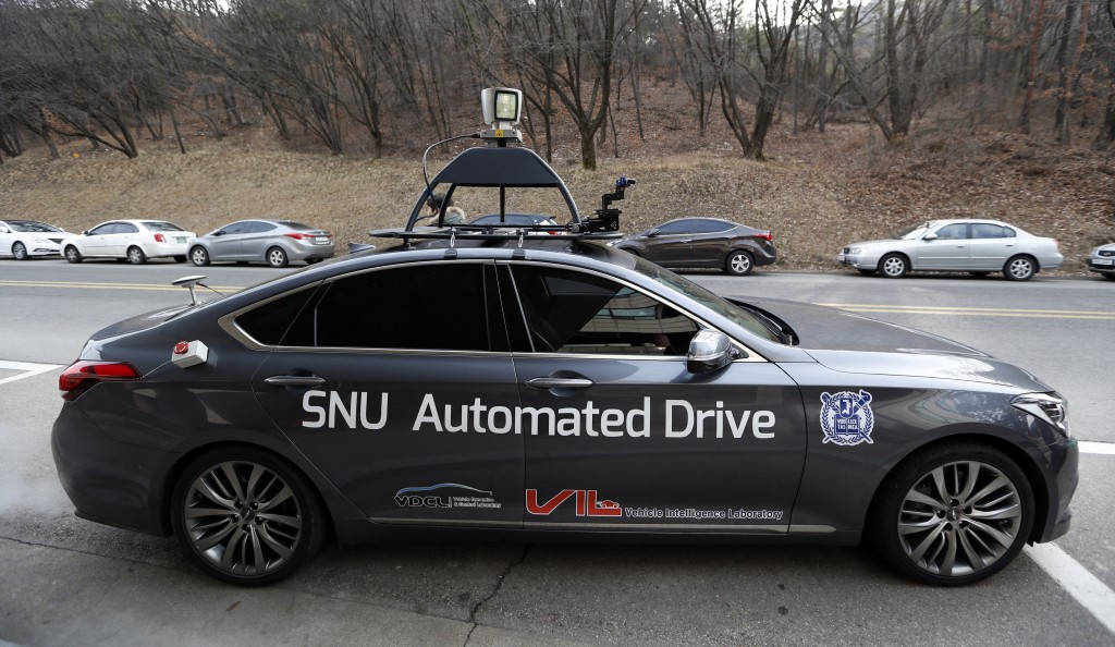 The Snuber car at Seoul National University campus. (AP Photo/Lee Jin-man)