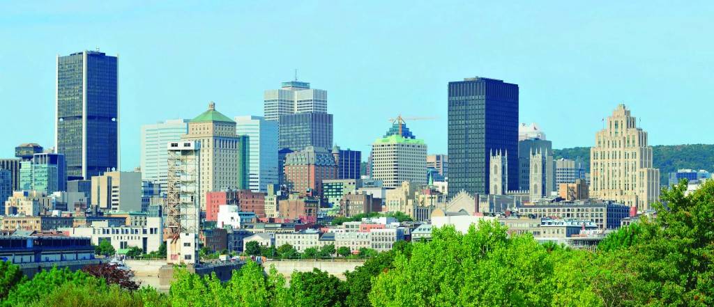 Montreal, Quebec city skyline.