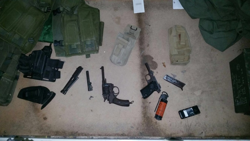 Some of the weaponry seized by security forces in Shechem. (IDF)