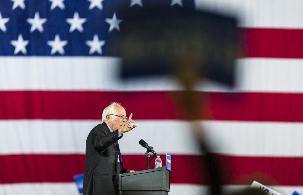 Democratic presidential candidate Sen. Bernie Sanders, I-Vt., speaks at a campaign stop Saturday, March 26, 2016, in Madison, Wis. (AP Photo/Andy Manis)