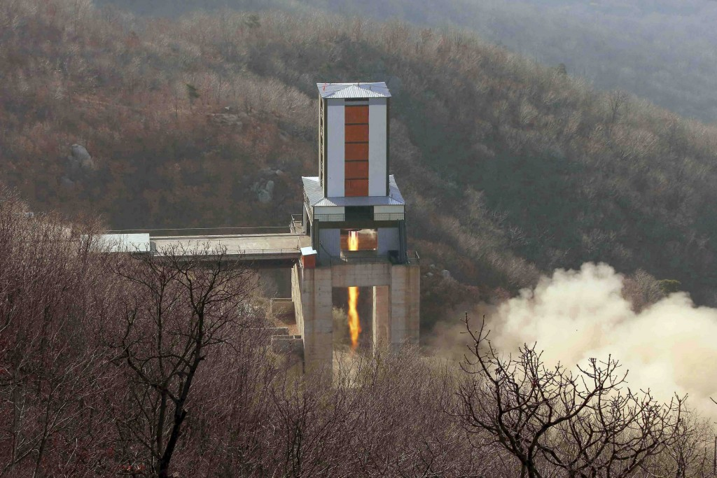 A new engine for an intercontinental ballistic missle (ICBM) is tested at a test site at Sohae Space Center in Cholsan County, North Pyongan province in North Korea in this undated photo released by North Korea's Korean Central News Agency (KCNA) on April 9, 2016. REUTERS/KCNA ATTENTION EDITORS - THIS PICTURE WAS PROVIDED BY A THIRD PARTY. REUTERS IS UNABLE TO INDEPENDENTLY VERIFY THE AUTHENTICITY, CONTENT, LOCATION OR DATE OF THIS IMAGE. FOR EDITORIAL USE ONLY. NOT FOR SALE FOR MARKETING OR ADVERTISING CAMPAIGNS. THIS PICTURE IS DISTRIBUTED EXACTLY AS RECEIVED BY REUTERS, AS A SERVICE TO CLIENTS. NO THIRD PARTY SALES. SOUTH KOREA OUT. NO COMMERCIAL OR EDITORIAL SALES IN SOUTH KOREA TPX IMAGES OF THE DAY