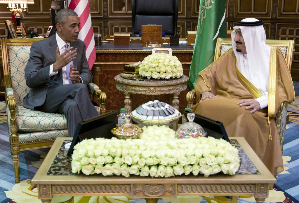 President Barack Obama and Saudi Arabia's King Salman meet at Erga Palace in Riyadh, Saudi Arabia, Wednesday, April 20, 2016. The president begins a six day trip to strategize with his counterparts in Saudi Arabia, England and Germany on a broad range of issues with efforts to rein in the Islamic State group being the common denominator in all three stops. (AP Photo/Carolyn Kaster)