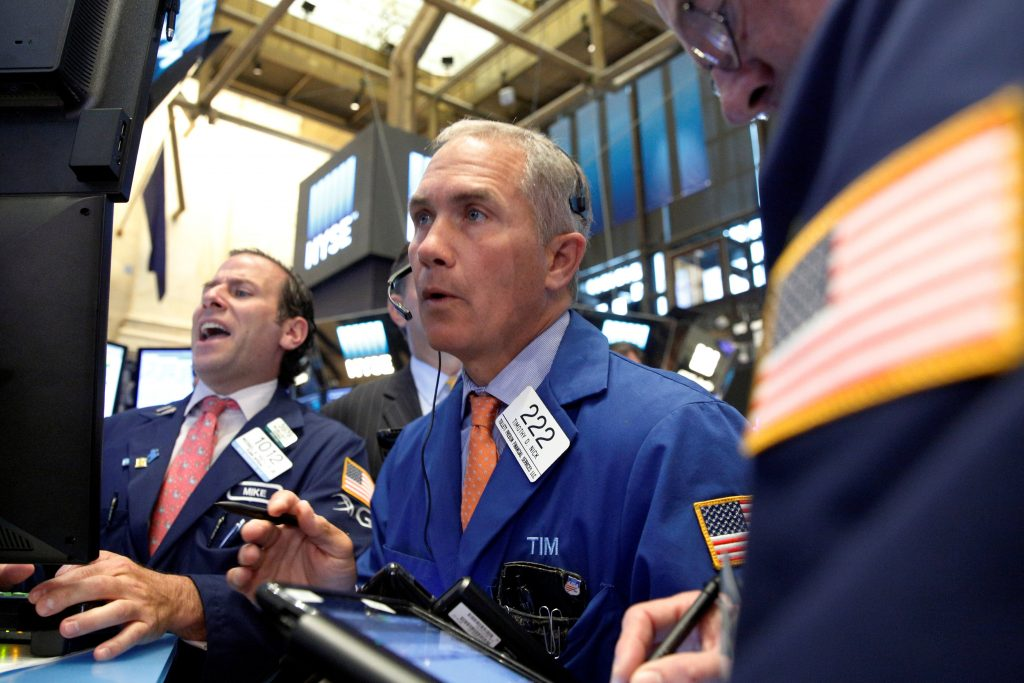Traders work on the floor of the New York Stock Exchange on Wednesday. (Reuters/Brendan McDermid)