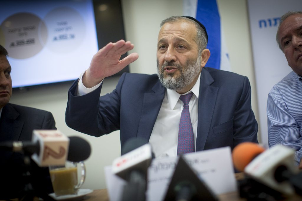 Minister of Interior Rabbi Aryeh Deri (Shas). (Yonatan Sindel/Flash90)