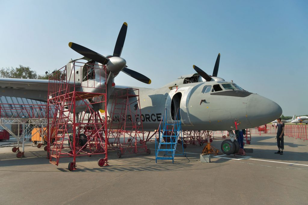 46435693 - kiev, ukraine - july 7, 2012: indian air force cargo planes an-32 during the maintenance and equipment upgrade