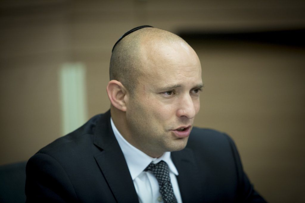 Education Minister Naftali Bennett (Jewish Home) (Yonatan Sindel/Flash90)