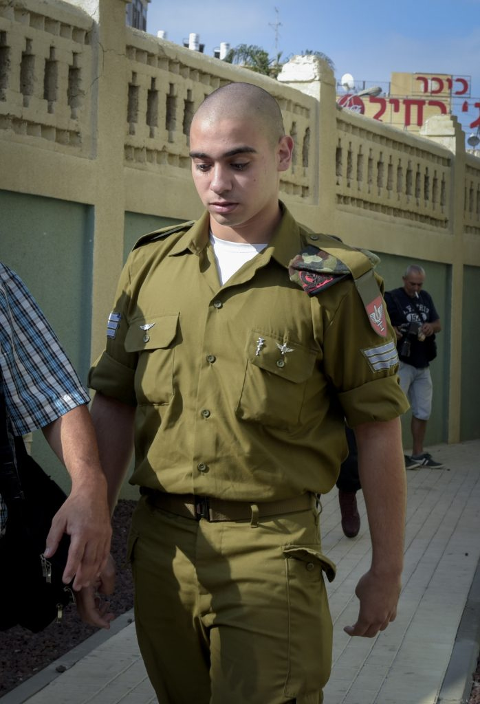Sgt. Elior Azaria, the Israeli soldier who shot a Palestinian terrorist in Chevron, seen after a military court hearing in Jaffa on Sunday, his first day of cross-examination. (Flash90)