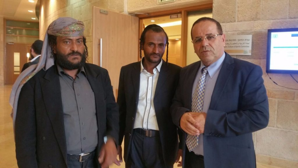Deputy Minister for Regional Cooperation Ayub Kara with two of the Yemenite Jews who arrived in Israel recently in the last aliyah.