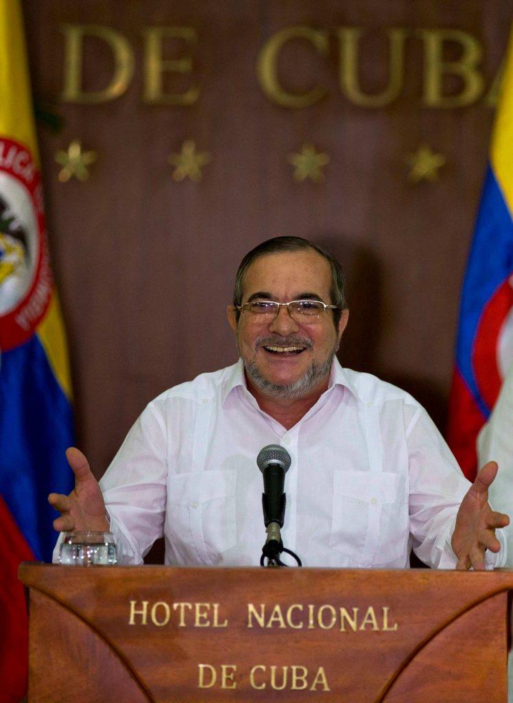 Commander of the Revolutionary Armed Forces of Colombia or FARC, Rodrigo Londono, better known as Timochenko or Timoleon Jimene,  talks to the press, in Havana, Cuba, Sunday,  (AP Photo/Ramon Espinosa)