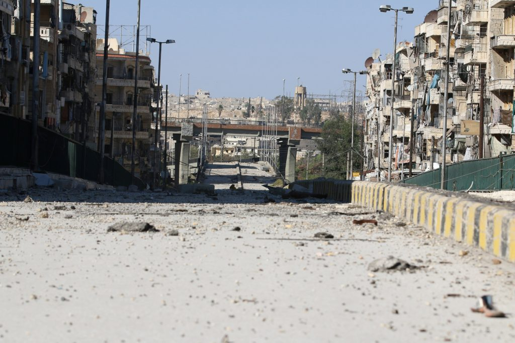 A damaged highway is pictured in the rebel-held al-Shaar neighbourhood of Aleppo, Syria, September 17, 2016. Picture taken September 17, 2016. REUTERS/Abdalrhman Ismail