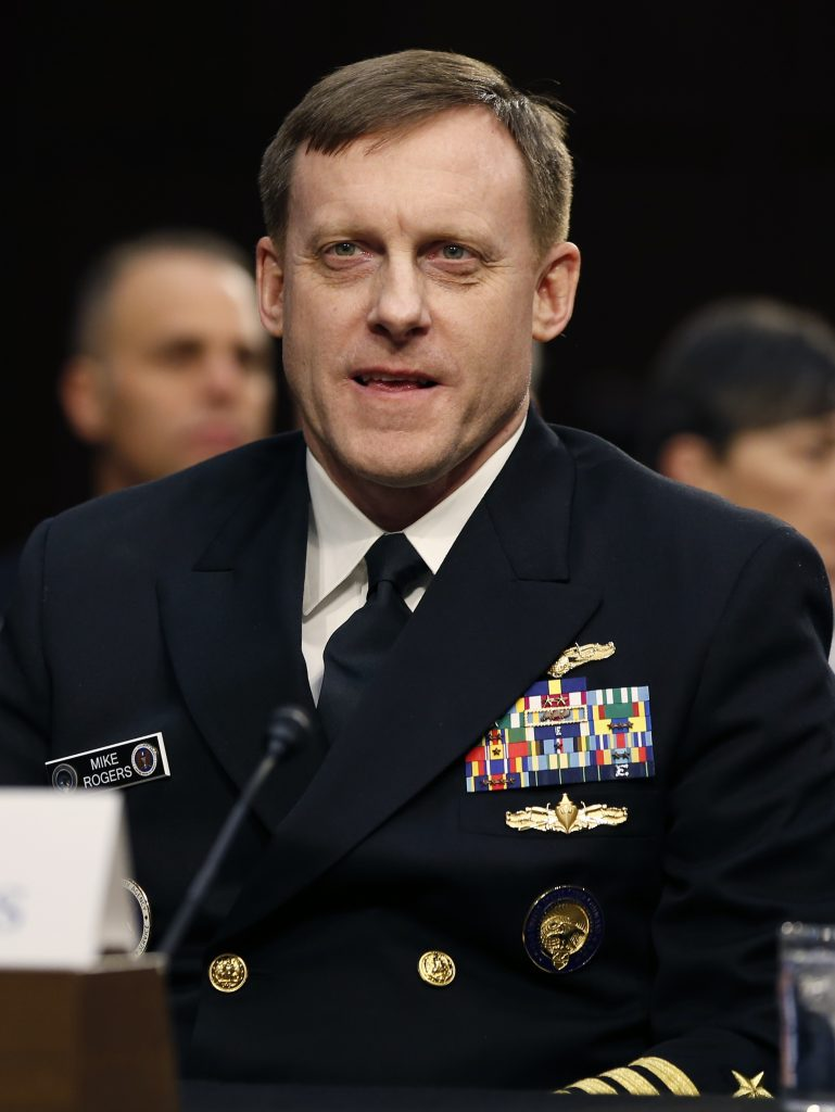National Security Agency Director Adm. Michael Rogers participates in the Senate Intelligence Committee's hearing on worldwide threats, in February. (AP Photo/Alex Brandon)