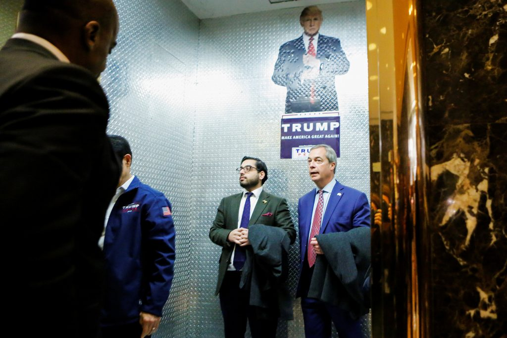 Nigel Farage, leader of the United Kingdom Independence Party (UKIP), arrives at Republican president-elect Donald Trump's Trump Tower in New York, U.S. November 12, 2016. REUTERS/Eduardo Munoz