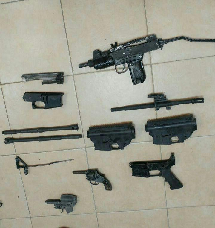 Some of the weapons caught in the raid. (IDF Spokesman)