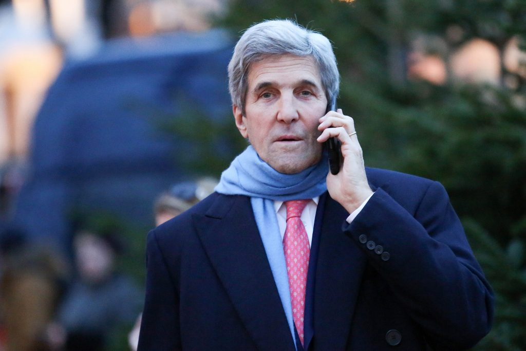 US Secretary of State, John Kerry, uses his mobile phone in Hamburg, Germany, Wednesday Dec. 7, 2016. Kerry will attend the meeting of the Organization for Security and Co-operation in Europe, OSCE, council of ministers on Dec, 8 and Dec. 9 2016. (Bodo Marks/dpa vis AP)