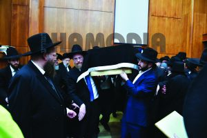 "At the levaya of Rebbetzin Miriam Salomon, A""h. (Yakov Leitner/JDN)"
