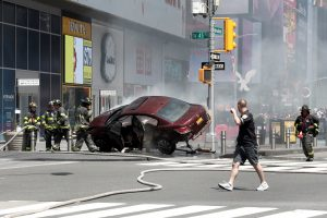 Times Square, car, accident