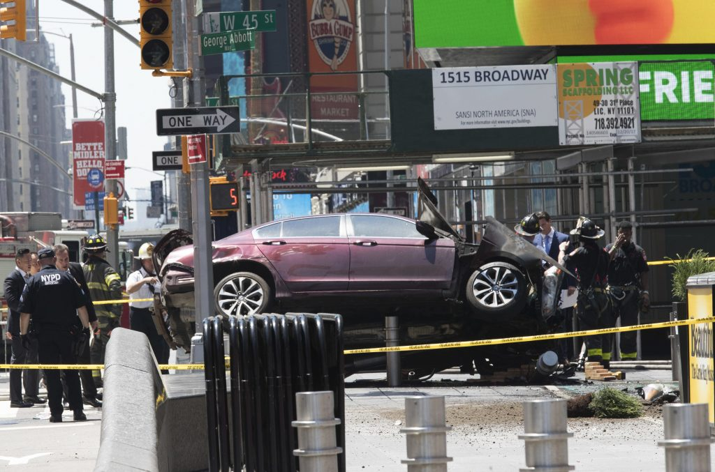 Times, Square, car, accident
