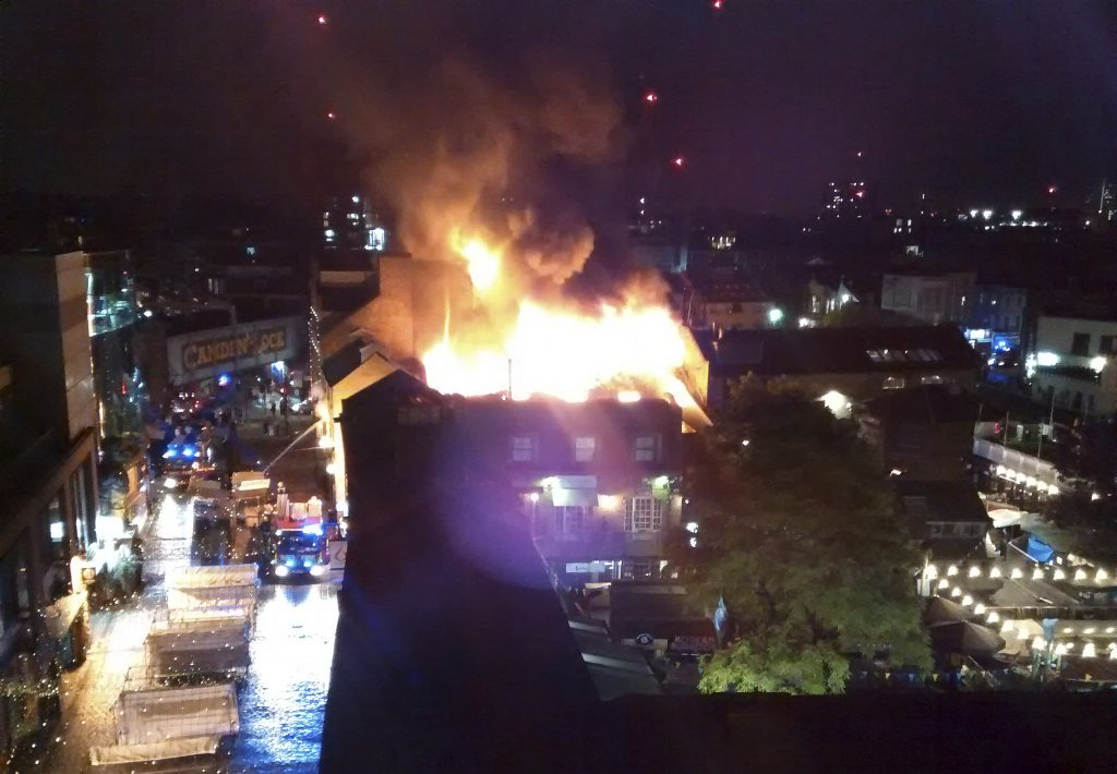 Flames engulf building in London's Camden Market